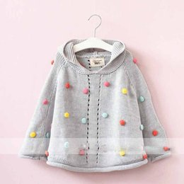 Wholesale Girls Cardigans Sweaters - Everweekend Girls Candy Dots Knitted Sweater Cardigans Capes Gray Color Western Fashion Sweet Children Jackets Outwears