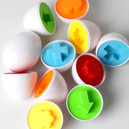 Wholesale Egg Shape Puzzle - 6pcs set Baby Kids Learning Education toys Eggs Puzzle Mixed Shape Wise Pretend children early education tools gifts