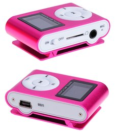 Wholesale 1gb Metal Clip Mp3 Player - Wholesale- 2016 New Arrival Mini Clip Mp3 Player Music Speaker Portable LCD Screen Metal TF SD Slot With MP3+Earphone+USB Cable Wholesale
