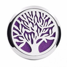 Wholesale Magnet Lockets - 38mm Tree of Life Magnet Diffuser Stainless Steel Car Aroma Locket Free Pads Essential Oil Car Diffuser Lockets