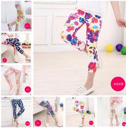 Wholesale Baby Floral Tights - 16 styles summer baby girls leggins 2017 new kids new girls 7th leggings flowers floral print pants leggings children trousers pants 4-11Y