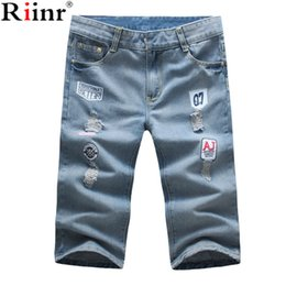 Wholesale High Street Mens Fashion Wholesale - Wholesale- Riinr 2017 Fashion New Arrival Badge Calf-Length Jeans Men's Summer Mens Street Jeans High Quality Brand Men jeans Free Shipping