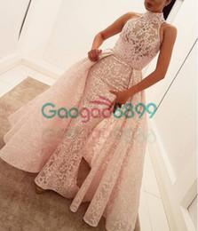 Blush Pink Lace Desmontable Tren Prom Vestidos de desfile 2019 Cuello alto yousef aljasmi Dubai Árabe Sirena de noche vestidos formales desde fabricantes