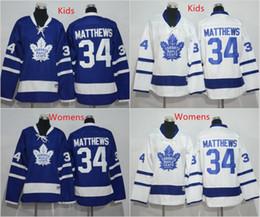 Wholesale Best Youth Jerseys - 2016 Kids Toronto Maple Leafs Jersey Blue Youth 34 Auston Matthews Ice Hockey Jerseys White Womens Matthews Jersey All Stitched Best Quality