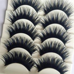 Wholesale Party False Eyelashes - 5 Pairs Black&Blue Charming Thick Eye Lashes Extension Party Makeup Cross Fake Makeup False Eyelashes Makeup Big eyes