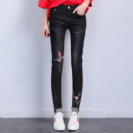 Wholesale Girl Rip Jeans - New Hot Destroy Jeans for Girl or Lady Stretch Slim Black Blue Color Rip Scratch Embroidery Design Women Leisure Pant