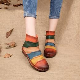 Wholesale Vintage Shoes Sale - Hot Sale Shoe Martin Boots Genuine Leather Ankle Shoes Vintage Casual Shoes Brand Design Retro Handmade Women Boots Lady