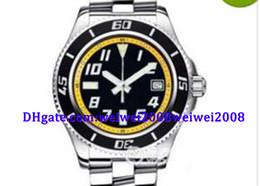 Orologio di lusso Mens Superocean 42 quadrante nero e giallo acciaio automatico Mens Watch A1736402-BA32SS Dive Men's Watches supplier yellow dial dive watch da orologio di immersione giallo fornitori