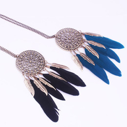Wholesale Long Chain Feather Necklace - Fashion Circular Feather Leaf Necklace Alloy Feather Leaf Long Pendant Necklace Sweater Chain Romantic Pendant Necklaces