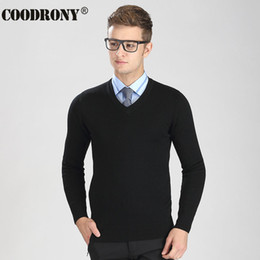 Wholesale merino wool cashmere - Wholesale- Free Shipping Autumn Winter Knitted Warm Sweater Men 100% Real Cashmere Sweaters Merino Wool Pullover Men V-Neck Pull Homme 6316