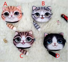 Wholesale Printer Cartoon - 50PCS 3D Printer Cat face Cat with tail Coin Purse Bag Wallet Girls Clutch Purses Change Purse cartoon handbag case T06