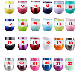 Wholesale Double Walled Tumblers - Egg Cups with Lid 9oz Tumbler Stemless Wine Cup Double Wall Stainless Steel Vacuum Insulated Beer Mug Baseball RTIC Mugs Tramblers