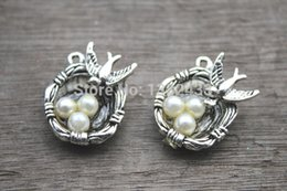 Wholesale Birds Nest Silver - 35pcs-Bird-Nest-Charms-Silver-Tone-with-3-Pearl-Like-Beads-Simply-Stunning-bird-nest-pendants