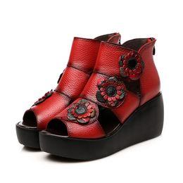 Botas confortáveis wedge tornozelo on-line-2019 novos sapatos femininos originais sandálias de verão confortáveis sapatos de couro genuíno moda sandálias ankle boots boca de peixe cunhas romanas sandálias