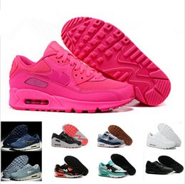 Wholesale Classic Women Running Shoes - Mens Sneakers Shoes classic 90 Men and women Running Shoes Black Red White Sports Trainer Air Cushion Surface Breathable Sports Shoes 36-46