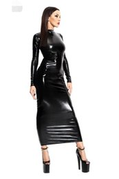 Wholesale bondage catsuit - Hot Sexy Female Black Faux Leather Latex Backless Hollow Out Dress Catsuit Body Bondage Night Clubwear Pole Dance Costumes