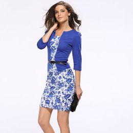 Wholesale dresses belted tunics - Plus Size Women Dresses Suit Autumn Formal Office Business Dress Clothes Woman Work Tunics Pencil With Belt Cotton Sashes