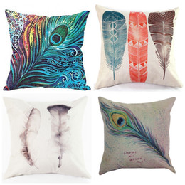 Wholesale Cushion Covers Sale - Feather Cushion Cover Peacock Hair Pillow Case Non Core Cushions Linen Covers Hold Cotton Pillow Cases Colored Feathers Hot Sale 8ht R