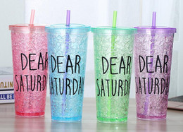 Wholesale Ice Straws - 600ml Summer fashion and ice cup double plastic straw cup couple gift cup