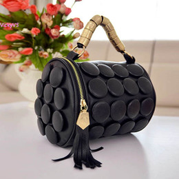Wholesale Cylinder Body - Wholesale- 2015 New Fashion Women's Cylinder Lady Tassel Bucket Shoulder Bag Cross Body Hand Bag 5 Colors VY 17341