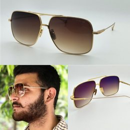 Wholesale Gold Plating Metal - new men brand designer sunglasses flight005 square metal frame gold plated vintage style ultralight UV400 lens top quality