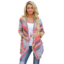 Wholesale Tops Blouses Stripes - Wholesale- Feitong Fashion Autumn Vintage Women Irregular Stripe Shawl Knitted Sweaters Kimono Cardigan Tops Cover Up Blouse Outwear Coat
