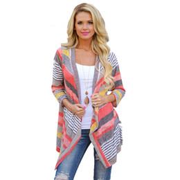 Wholesale Vintage Crochet Blouse - Wholesale- Feitong Fashion Autumn Vintage Women Irregular Stripe Shawl Knitted Sweaters Kimono Cardigan Tops Cover Up Blouse Outwear Coat