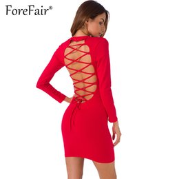 Wholesale Wholesale Clubwear For Women - Wholesale- Forefair Sexy Backless Cross Lace Up Dress For Women Night Clubwear Party Dresses 2017 Autumn Long Sleeve Slim Bodycon Dress