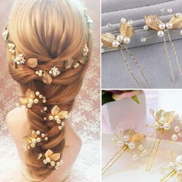 Wholesale Pearl Stick Pins - 1Pcs Wedding Bridal Bride Party Flower Leaf Crystal Rhinestone Hair Comb Slide Clip Hairgrip Accessories JHC0021
