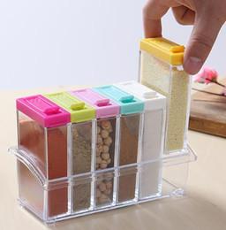 Wholesale Wholesale Kitchen Storage Containers - 2017 acrylic transparent Spice Jar Colorful Lid Seasoning Box 6pcs set Kitchen Tools Salt Condiment Cruet Storage box Containers