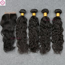 Wholesale Peruvian Hair 5pcs - 5PCS lot Malaysian Water Wave 4 bundles with Closure 8A Malaysian virgin hair Wet and Wavy Curly human hair Extensions