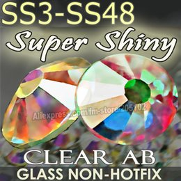Wholesale Nail Art Clear Rhinestone - Wholesale-Super Clear AB SS3 SS4 SS5 SS6 SS10 SS20 SS30 SS40 for Nails Art Rhinestones Glitter Crystals DIY Non HotFix stones Decor strass