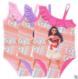 Wholesale Wholesale Kids Quality Clothes - One Piece Swim Moana Trolls Baby Kids clothing Girl Bikini Top Quality Kids Bathing Children Swimsuits DHL Free Shipping