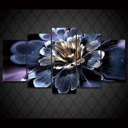 Wholesale Lily Flower Wall Canvas - 5 Pcs Set Framed HD Printed Colorful water lily flowers picture Painting wall art room decor print poster picture canvas Free shipping