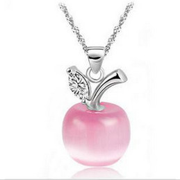 Wholesale Wholesale Kawaii Necklace - Wholesale-1 PCS Cute Kawaii Women Lady Girls Silver Plated Clavicle Necklace Charm Small Apple Opal Pendant NEW Christmas Jewelry