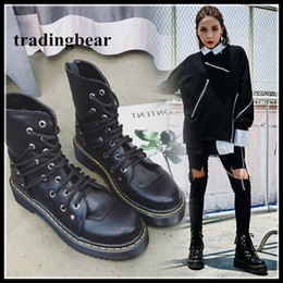 Wholesale Korea Winter Shoes - Korea Stylish Womens Black PU Leather Lace Up Martin Boots Winter Ankle Bootie Shoes