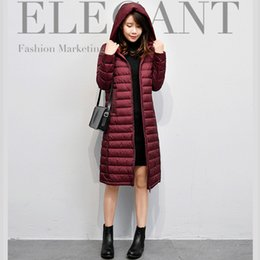 Wholesale Korean Winter Coats For Women - Korean women winter down coat jacket hooded thin long section Manteaux d'hiver pour femmes parkas 90% duck down coats jackets for women