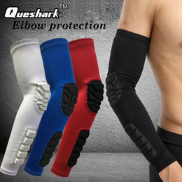 Wholesale Knee Guards Pad - Wholesale- 1PCS Elastic Gym Sports Elbow Pads Basketball Arm Sleeve Honeycomb Elbow Support Elbow Protector Guard Sports Safety