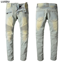 Wholesale bleach 42 - Wholesale- New France Style #1016# Mens Distressed Stretch Moto Pants Bleached Blue Biker Jeans Slim Trousers Size 29-42