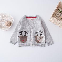 Wholesale Hand Knit Girls Cardigan - New Boys Girls Sweaters Cute Animal Deer Pocket Long Sleeve Sweater Tops Knitting Cardigan Boy Girl's Clothing Top Grey A6977