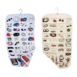 Wholesale Earring Hangers - 80 Pockets Real Set Organizadores Organizador Box Hanging Jewelry Organizer Display Earring Rings Bracelets Storage Bags Hanger