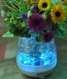 Wholesale Led Crystal Vase - Crystal Smart LED Bluetooth Speaker Flower Pot Music Vase Speaker Real Plant Touch Sensing Flower Pot USB Charge Waterproof For Best Gift