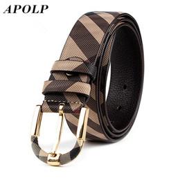 Wholesale Pure British - Wholesale- APOLP British Style Mens Luxury Brand Name Designer Plaid Pattern Leather Belt Men's Plaid Casual Fashion Belts Pure Leather
