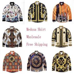 Einzelne blütenhülsen online-Großhandel-Berühmte Marke Design Kleidung Männer Barock Galaxie Golden Dragon Flower Print Langarm 3d Shirt Druck Männer Medusa Shirt