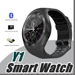 Wholesale White Screen Sell - Hot Sell Y1 smart watches Latest Round Touch Screen Round Face Smartwatch Phone with SIM Card Slot smart watch for IOS Android J-BS