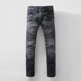 Wholesale Stylish Stretch Pants - 2017 Men's Stylish Biker Slim Fit Straight Leg Stretch Brand Design Biker Jeans Pants With Broken Holes