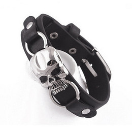 skull bracelet clasps Promo Codes - Wholesale-Men's Fashion Faux Leather Bracelet Punk Cuff Skull Wristband Jewelry Charms Store 50