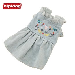 Wholesale Dog Denim Dresses - Hipidog Free Shipping Embroidery Dress Dog Cat Jeans Denim Dress Pet Flower Sleeves Pretty Cure Princess Apparel Clothing for Small Dogs