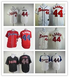 Wholesale Womens Suits Shorts - Factory Outlet Mens Womens Kids Youth Atlanta Braves 44 Hank Aaron Throwback White Red Cream Baseball Jerseys,suit S-XXXL, Jerseys