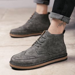 Wholesale Roman Style Boots - 2017 men's casual shoes Martin Boots Black yellow gray lace up Artificial leather size 7-10 British style trend of men's shoes